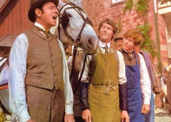 "Photo from Hello, Dolly! Horace Vandergelder singing ""It Takes A Woman"" with his clerks Cornelius and Barnaby. Copyright 1968, by 20th Century Fox. All rights reserved."
