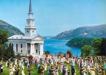 Photo from Hello, Dolly! The wedding scene was filmed on Trophy Point at West Point Military Academy in June of 1968. Copyright 1968, by 20th Century Fox. All rights reserved.